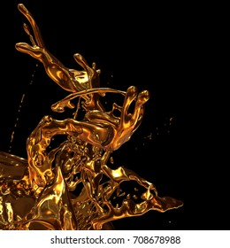 Abstract golden splash on black background. 3d illustration, 3d rendering metall splashes