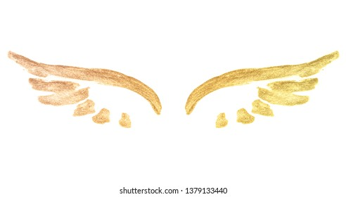 Abstract golden watercolor wings in vintage nostalgic colors