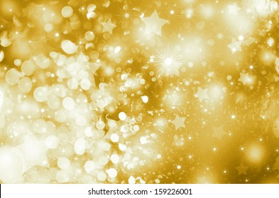 abstract golden Xmas background with snowflakes