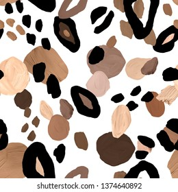 Abstract gouache seamless pattern with brown, beige and black spots on white background. Imitation of leopard coat print. Hand painted texture made in neutral colour palette. For textile, packaging.