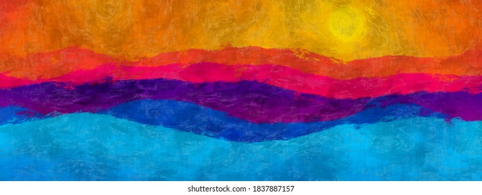 Abstract gradient blue violet red orange mountains shapes with sun. Pop art canvas, brush strokes colorful landscape