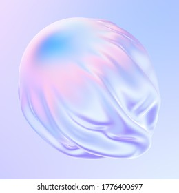 Abstract gradient fluid 3D shape. Pastel and holographic colors. Falling fabric with pleats. 3d illustration, 3d rendering.
