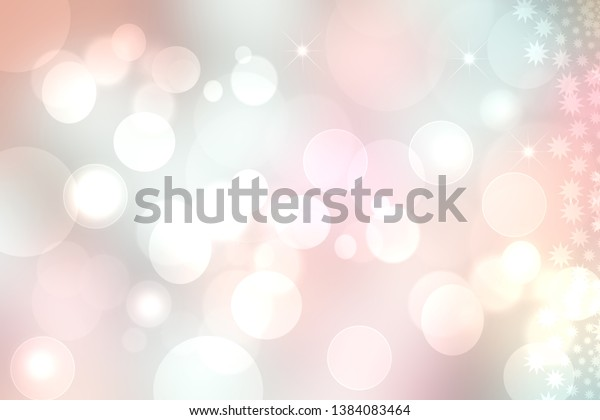 Abstract gradient of pink blue pastel light background texture with glowing circular bokeh lights and stars. Beautiful colorful spring or summer backdrop.