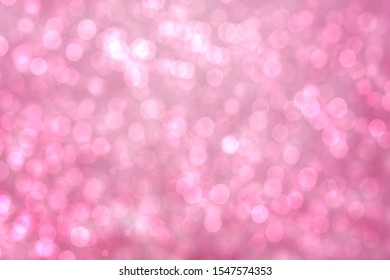 Abstract gradient pink violet background texture with blurred white bokeh circles and lights. Space for design. Beautiful backdrop.