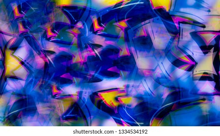 Abstract graffiti imitation in digital collage. Artistic creative background from blue, yellow and pink geometric shapes in street art style. Youth culture. Fresh bright texture in distinctive design.