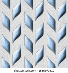 Abstract grains of cob as decorative pattern - Interior wall decoration - 3D illustration - convex tiles - granular white-blue surface