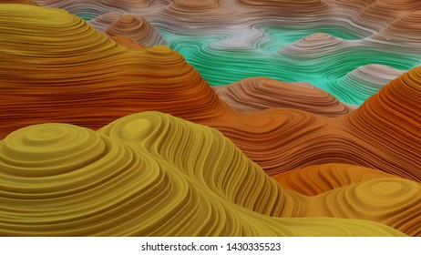 abstract grand canyon. mountain river abstract 3d rendering - illustration - Ilustrace