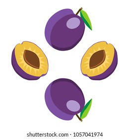 Abstract graphic icon illustration logo for whole ripe fruit purple plum with green stem leaf, slice tasty meal. Plum pattern consisting of natural fruit label, sweet raw food. Eat fresh organic plums