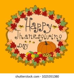 Abstract graphic illustration of logo for celebrating holiday happy thanksgiving, autumn leaves falling from the trees poster background. Thanksgiving pattern consisting of pumpkin.Happy thanksgivings