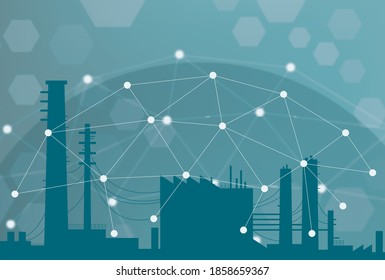 Abstract and graphic representation of IIoT, Industrial Internet of Things or Industrial Revolution 4.0. Sensors and processes connected for asset management or predictive maintenance in factories.
