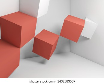 Abstract graphical background, white red cubes installation in empty room. 3d rendering illustration