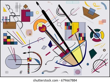 Abstract  gray  background ,inspired by the  painter kandinsky