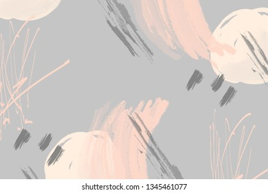 Abstract  gray background with pink  brush strokes and paint splashes. Modern hand drawn textures. Trendy abstract design for paper, cover, fabric, interior decor and other users.