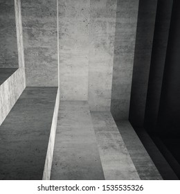 Abstract gray concrete interior, square background with dark staircase structure, 3d rendering illustration