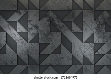 Abstract gray geometric shapes background. Technology and design concept. 3D Rendering