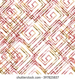Abstract greek pattern. Watercolor background. Seamless swatch with meander ornament and watercolor effect. Textile print for bed linen, jacket, package design, scrapbooking and fashion concepts.