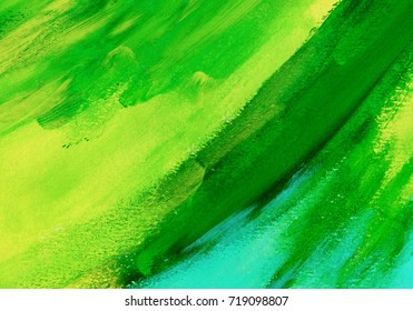 Abstract green acrylic hand paint background. Part of oil painting with brush strokes. Background of detail of green acrylic painting.