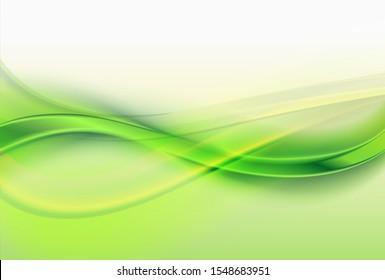 Abstract green background, elegant wavy vector illustration