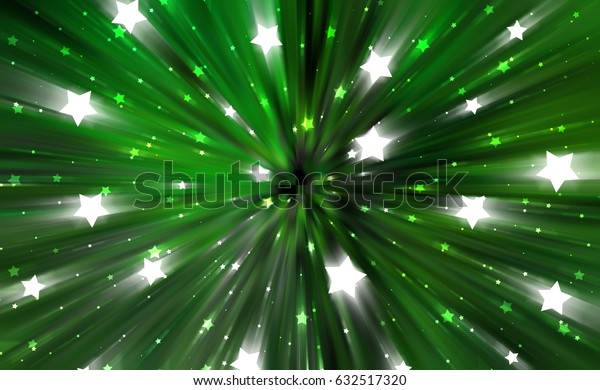 abstract green background. fractal explosion star with gloss and lines. illustration beautiful.