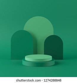 Abstract green background with geometric shape podium for product. minimal concept. 3d rendering