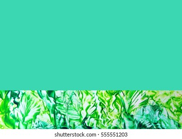 Abstract green and blue flowers with turquoise background