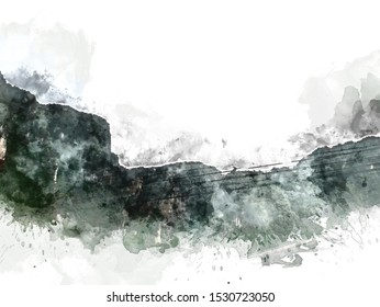 Abstract green colorful shape on watercolor illustration painting background.