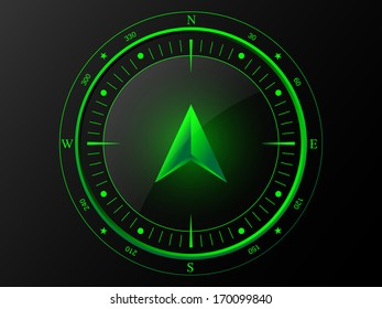 Abstract green compass with 3 D arrow pointer in the middle, isolated on dark background, raster copy