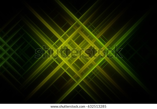 Abstract green fractal background with various color lines. illustration technology.