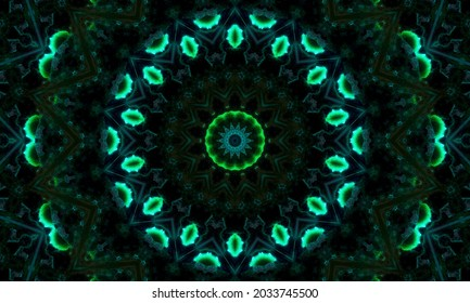 Abstract green geometric seamless pattern background. Abstract Stripes Kaleidoscope. Psychedelic Colorful Kaleidoscope VJ background. Disco Abstract Background. Kaleidoscope effect