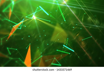Abstract green and gold background. Explosion star. Motion background. illustration digital.