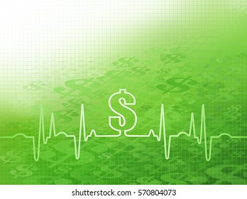 Abstract green graphic of Flowing or Moving Dollar symbols with an ekg/cardiogram indicating financial cost of healthcare, insurance, surgery and other medical expenses.