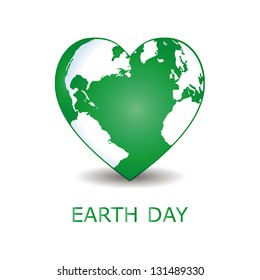 Abstract green heart together with green earth.