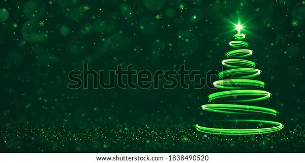 Abstract green light streaks as Christmas tree on dark green background. Mail card design with empty space for text. 3D illustration.
