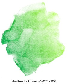 Abstract green watercolor on white background.The color splashing in the paper.It is a hand drawn.