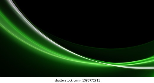 Abstract green wave on black background with copy space. Wallpaper