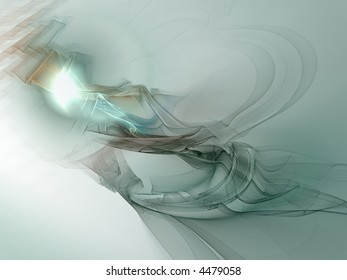 an abstract grey and greenish flame fractal on a white background