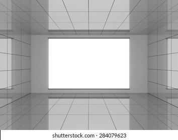 Abstract grey interior in room with blank white background