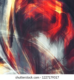 Abstract grey and red splash watercolor background. Dynamic painting texture. Modern futuristic pattern. Fractal artwork for creative graphic design