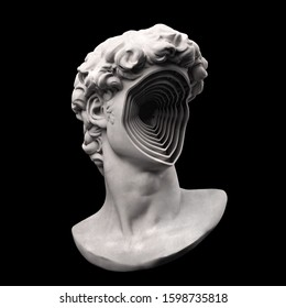 Abstract grey scale 3d rendering illustration of Michelangelo's David classical bust head with omitted face multiplied inside the hallow cavity.