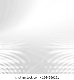 Abstract grey and white elegant halftone background. Geometric modern abstract graphic for banners,  flyers and presentations. Abstract background perspective with soft white grey light.