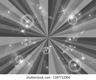 Abstract greyscale perspective burst of rays with stars bursting all around.  Groovy, psychedelic background that looks like a black-hole.