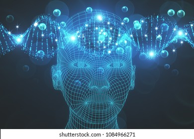 Abstract grid head background. Science, artificial intelligence and innovation concept. 3D Rendering