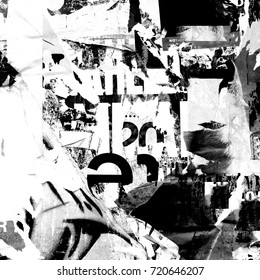 Abstract Grunge Background with Old Torn Posters - Black and white Design