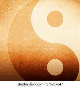 Abstract grunge background with yin yang symbol, brown grunge background