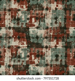 Abstract Grunge Block Textured Distressed Background. Seamless Pattern.