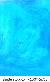 Abstract grunge blue painting isolated background. Artistic brushstroke texture background. Hand painted gouache background.