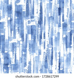 Abstract grunge cross geometric shapes contemporary art indigo seamless pattern background. Watercolor hand drawn color brush strokes texture. Watercolour print for textile, wallpaper, wrapping