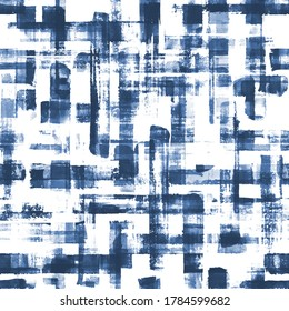 Abstract grunge cross geometric shapes contemporary art blue color seamless pattern background. Watercolor hand drawn brush strokes texture. Watercolour print for textile, wallpaper, wrapping paper.