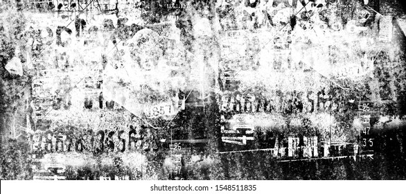 Abstract grunge futuristic cyber technology background.  Drawing on old grungy surface. Vintage dirty scratch wall. Street art blueprint. Urban cyber punk wide illustration