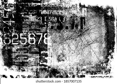Abstract grunge futuristic cyber technology background.  Drawing on old grungy surface. Vintage dirty scratch wall. Street art blueprint. Urban cyber punk monochrome illustration